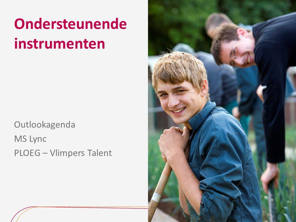 Ondersteunende instrumenten Outlookagenda MS Lync PLOEG – Vlimpers Talent