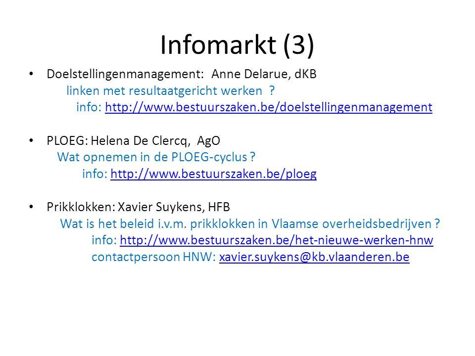 Infomarkt (3) Doelstellingenmanagement: Anne Delarue, dKB linken met resultaatgericht werken ? info: http://www.bestuurszaken.be/doelstellingenmanagem