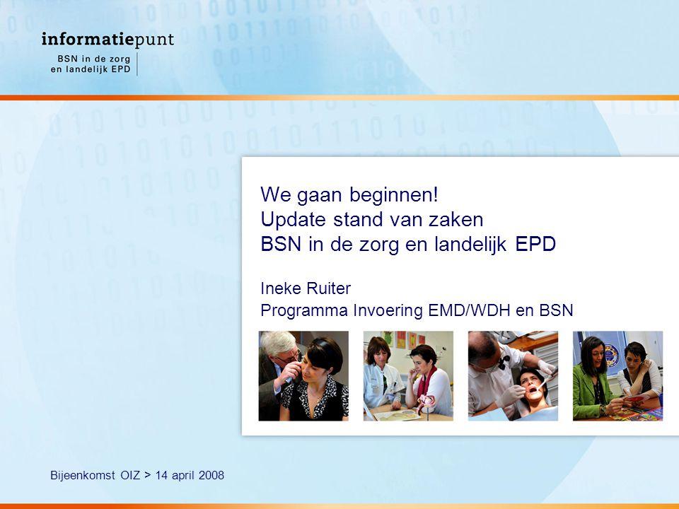 2 Wet gebruik BSN in de zorg Treedt op 1 juni 2008 in werking Overgangsperiode van 1 jaar: 1 juni 2009 verplichting Bij gebruik: alle regels toepassen Het BSN mag pas worden gebruikt als: - als van patiënt/cliënt de identiteit is vastgesteld - BSN van de patiënt/cliënt is vastgesteld Alleen dan is het verband tussen BSN en patiënt/cliënt vastgesteld kunnen gegevens worden uitgewisseld