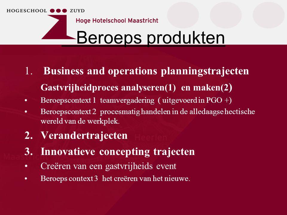Beroeps produkten 1. Business and operations planningstrajecten Gastvrijheidproces analyseren(1) en maken(2 ) Beroepscontext 1 teamvergadering ( uitge