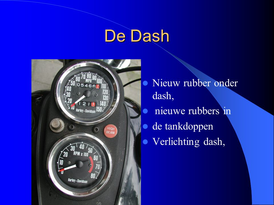 De Dash Nieuw rubber onder dash, nieuwe rubbers in de tankdoppen Verlichting dash,
