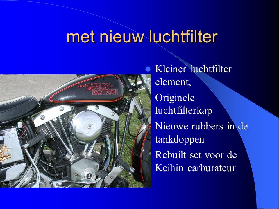 met nieuw luchtfilter met nieuw luchtfilter Kleiner luchtfilter element, Originele luchtfilterkap Nieuwe rubbers in de tankdoppen Rebuilt set voor de Keihin carburateur
