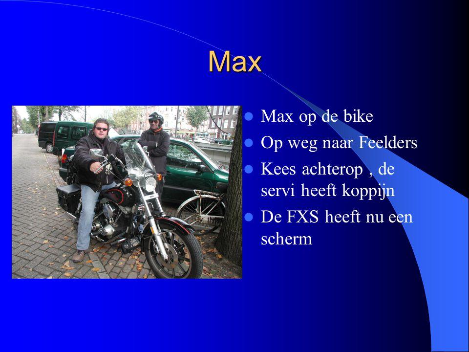 Max Max op de bike Op weg naar Feelders Kees achterop, de servi heeft koppijn De FXS heeft nu een scherm