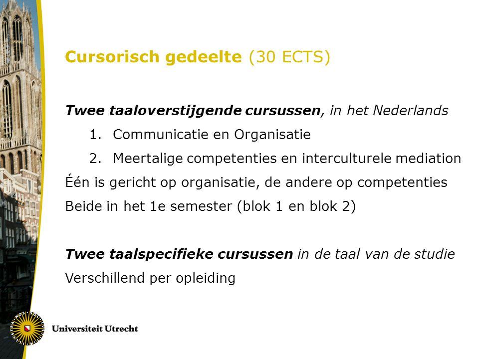 Cursorisch gedeelte (30 ECTS) Twee taaloverstijgende cursussen, in het Nederlands 1.Communicatie en Organisatie 2.Meertalige competenties en intercult