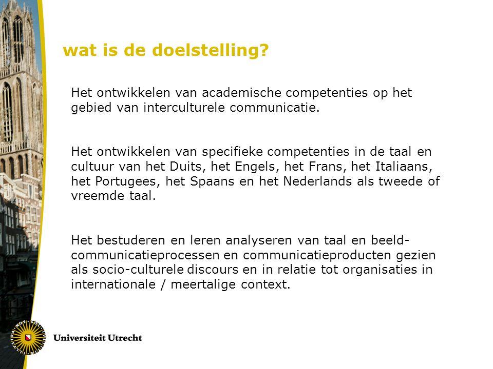 Het ontwikkelen van academische competenties op het gebied van interculturele communicatie. Het ontwikkelen van specifieke competenties in de taal en