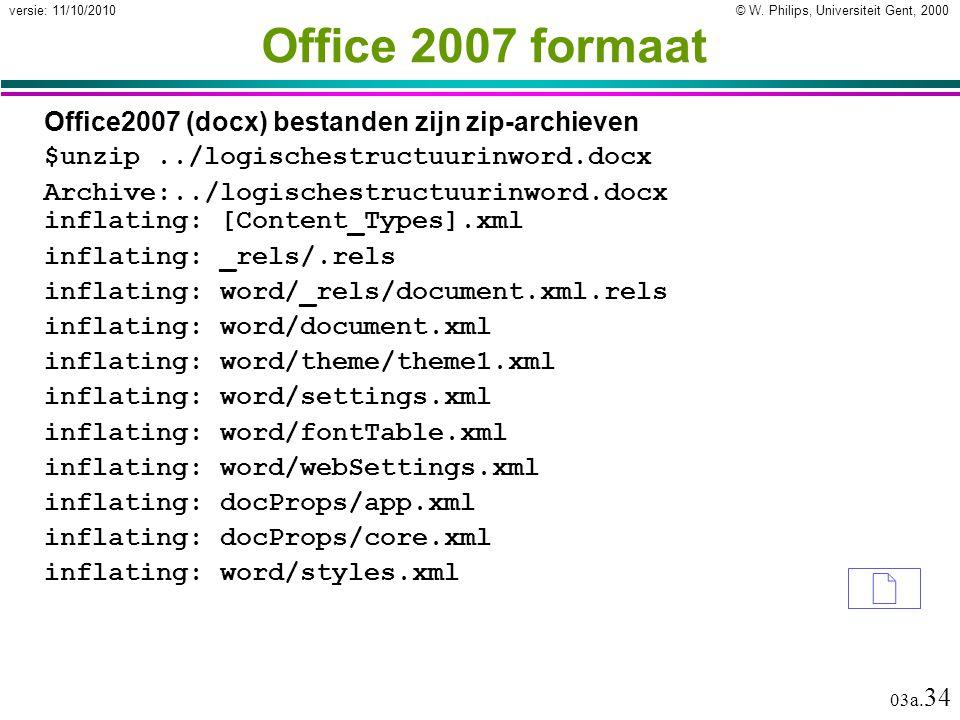 © W. Philips, Universiteit Gent, 2000versie: 11/10/2010 03a.
