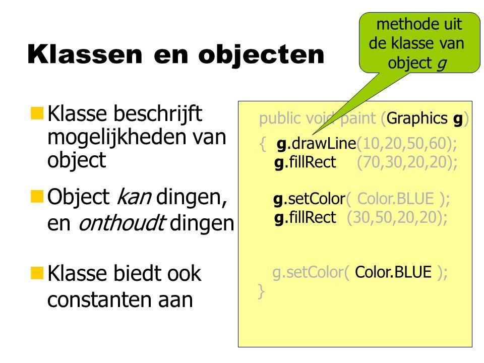 Klassen en objecten nKlasse beschrijft mogelijkheden van object nObject kan dingen, en onthoudt dingen nKlasse biedt ook constanten aan public void pa