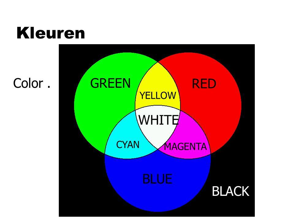 Kleuren RED GREEN YELLOW BLUE CYAN MAGENTA WHITE BLACK Color.