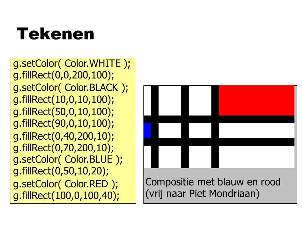 Tekenen g.setColor( Color.WHITE ); g.fillRect(0,0,200,100); g.setColor( Color.BLACK ); g.fillRect(10,0,10,100); g.fillRect(50,0,10,100); g.fillRect(90