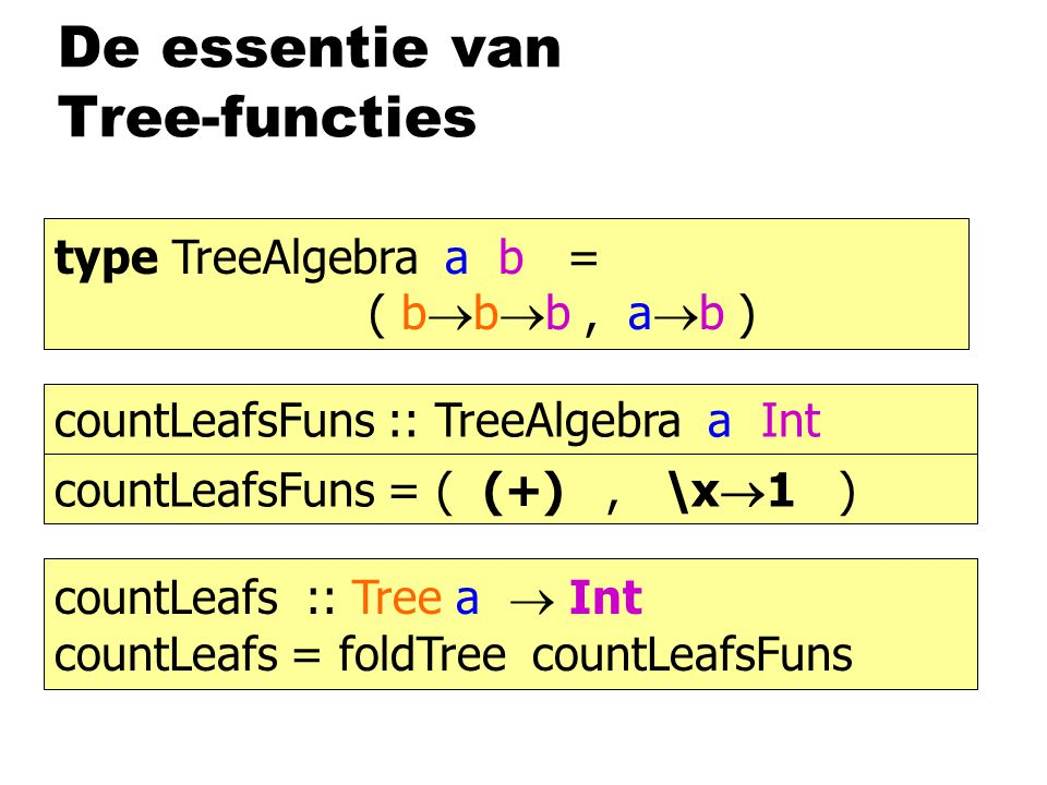 De essentie van Tree-functies countLeafs :: Tree a  Int countLeafs = foldTree ( (+), \x  1 ) countLeafs :: Tree a  Int countLeafs = foldTree countL