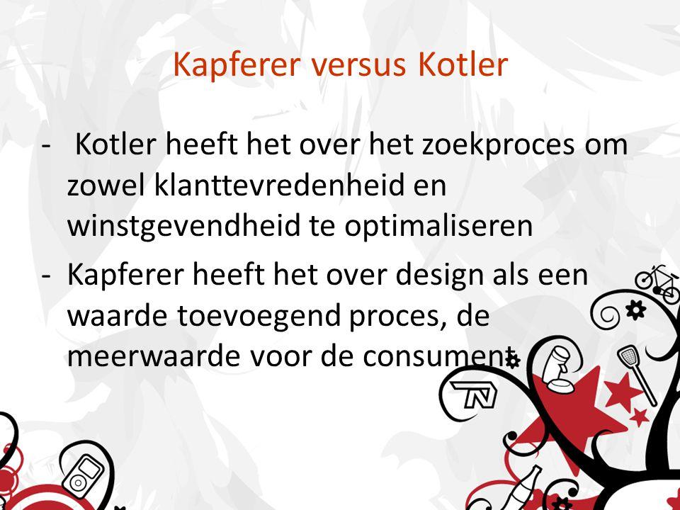 Kapferer versus Kotler - Kotler heeft het over het zoekproces om zowel klanttevredenheid en winstgevendheid te optimaliseren -Kapferer heeft het over design als een waarde toevoegend proces, de meerwaarde voor de consument
