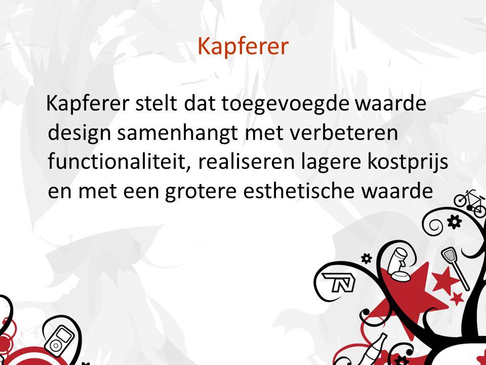 Kapferer Kapferer stelt dat toegevoegde waarde design samenhangt met verbeteren functionaliteit, realiseren lagere kostprijs en met een grotere esthetische waarde