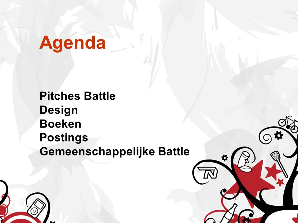 Agenda Pitches Battle Design Boeken Postings Gemeenschappelijke Battle