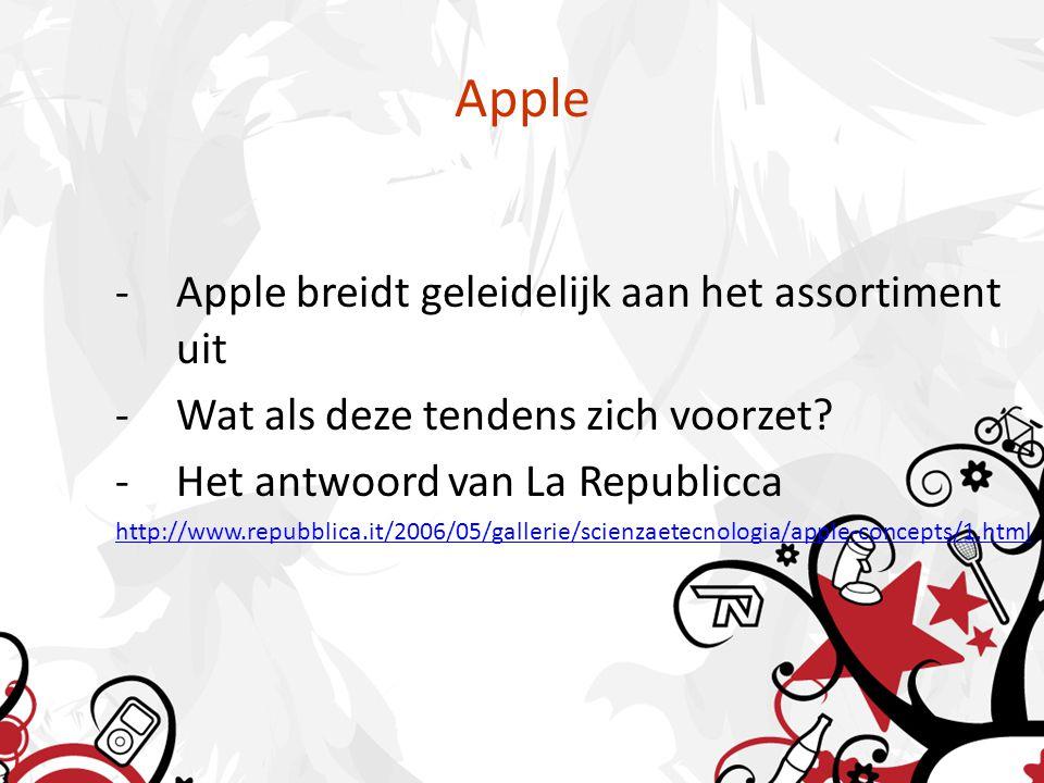 Apple -Apple breidt geleidelijk aan het assortiment uit -Wat als deze tendens zich voorzet? -Het antwoord van La Republicca http://www.repubblica.it/2