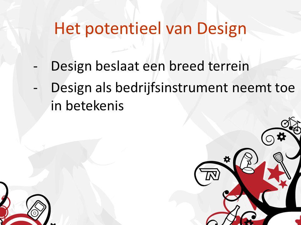 Het potentieel van Design -Design beslaat een breed terrein -Design als bedrijfsinstrument neemt toe in betekenis
