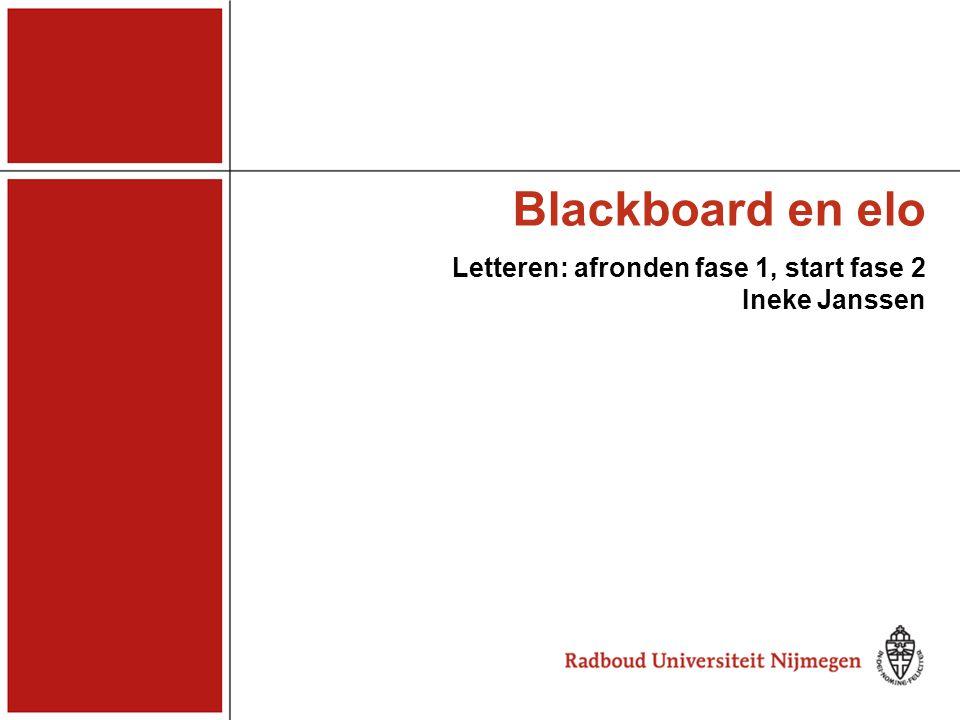 Blackboard en elo Domeineigenaren 27 februari 2008 Vergeleken met andere fac Studentenaantal Lett gemiddeld Veel meer vakken/courses Veel meer onderwijsadministraties (20) -------------------------------------------------------- Bb minder breed ingevoerd 1 e fase tot nu toe Wel enkele early starters 2 e fase