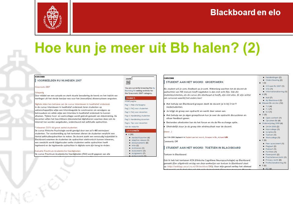 Blackboard en elo Domeineigenaren 27 februari 2008 Hoe kun je meer uit Bb halen (2)