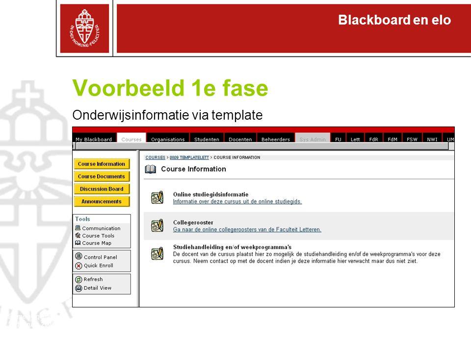 Blackboard en elo Domeineigenaren 27 februari 2008 1.Efficiënter voor docenten (zowel fase 1 als fase 2) 2.Efficiënter voor studenten (zowel fase 1 als fase 2) 3.Inhaken bij digitaal enthousiasme studenten en wensen studenten naar zelfwerkzaamheid (web 2.0) 4.Inhaken bij onderwijsdoelen: (professionaliseren docenten) Icoplan RU breed, faculteit der LettIcoplan Waarom zou je meer uit Bb en de Elo willen halen?