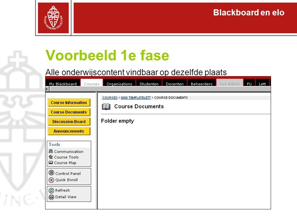 Blackboard en elo Domeineigenaren 27 februari 2008 Voorbeeld 1e fase Alle onderwijscontent vindbaar op dezelfde plaats
