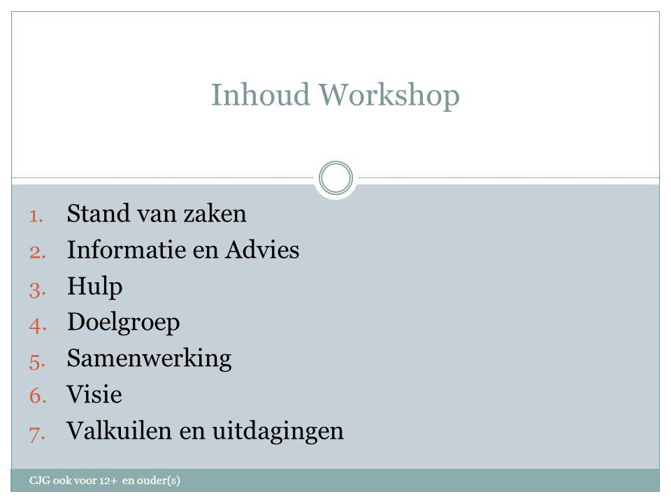 Inhoud Workshop 1. Stand van zaken 2. Informatie en Advies 3.