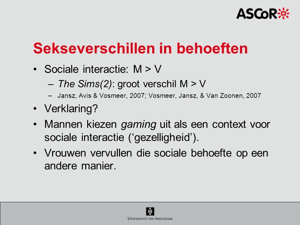 Sekseverschillen in behoeften Sociale interactie: M > V –The Sims(2): groot verschil M > V –Jansz, Avis & Vosmeer, 2007; Vosmeer, Jansz, & Van Zoonen, 2007 Verklaring.