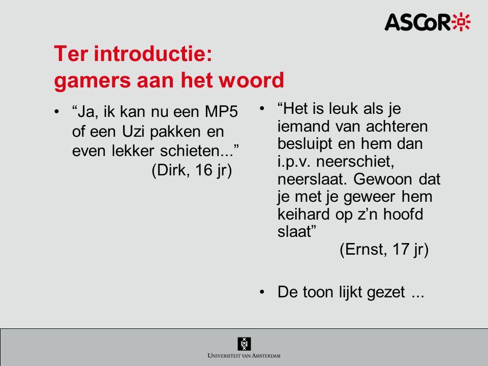 Game genres en behoeften CompContrFantSoc Counter Strike hooglaag hoog The Simshoog laag MMORPGlaag hoogmixed (Griffiths et al., 2004; Jansz & Martens, 2005; Jansz & Tanis, 2007; Jansz, Avis & Vosmeer, 2007; Lucas & Sherry, 2004)