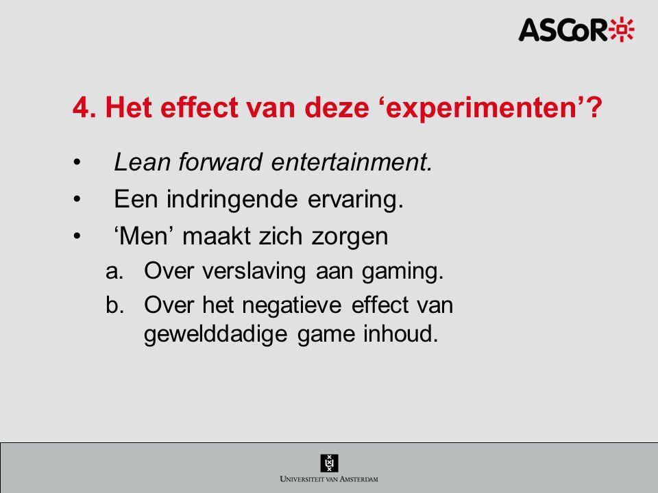 4.Het effect van deze 'experimenten'. Lean forward entertainment.