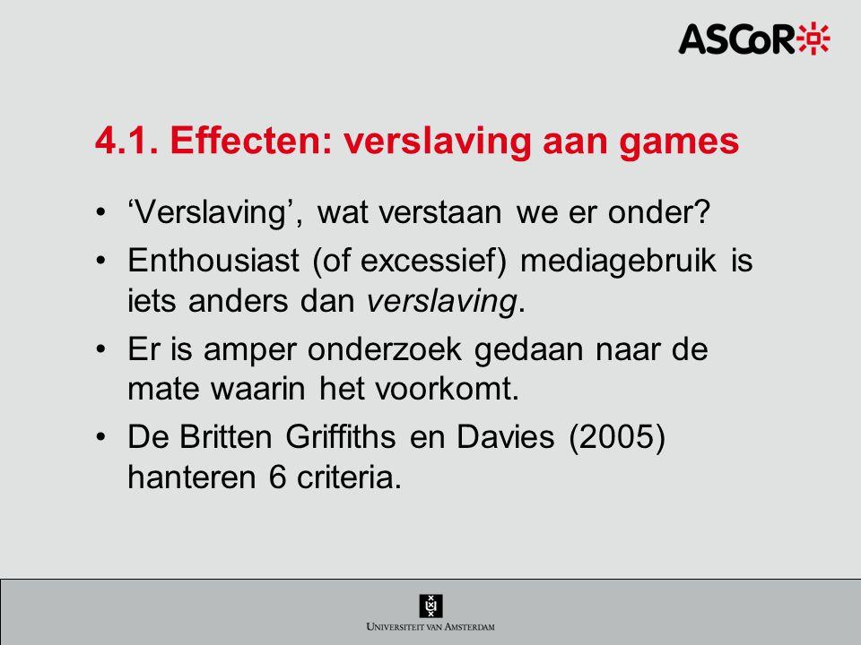 4.1.Effecten: verslaving aan games 'Verslaving', wat verstaan we er onder.