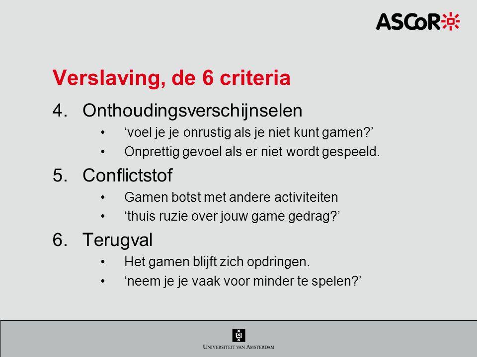 Verslaving, de 6 criteria 4.Onthoudingsverschijnselen 'voel je je onrustig als je niet kunt gamen?' Onprettig gevoel als er niet wordt gespeeld.