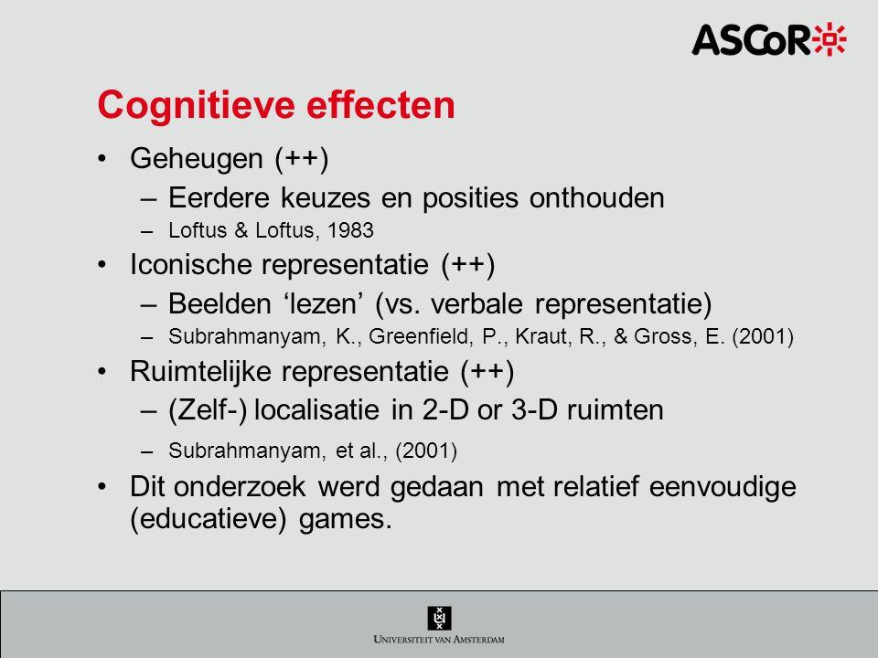 Cognitieve effecten Geheugen (++) –Eerdere keuzes en posities onthouden –Loftus & Loftus, 1983 Iconische representatie (++) –Beelden 'lezen' (vs.