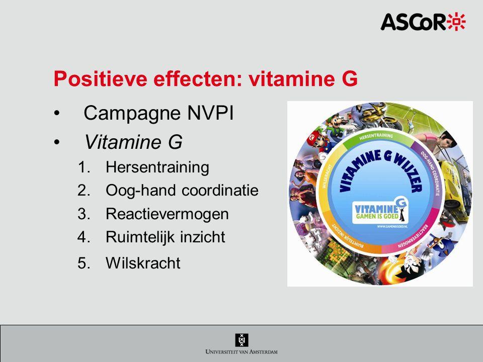 Positieve effecten: vitamine G Campagne NVPI Vitamine G 1.Hersentraining 2.Oog-hand coordinatie 3.Reactievermogen 4.Ruimtelijk inzicht 5.Wilskracht