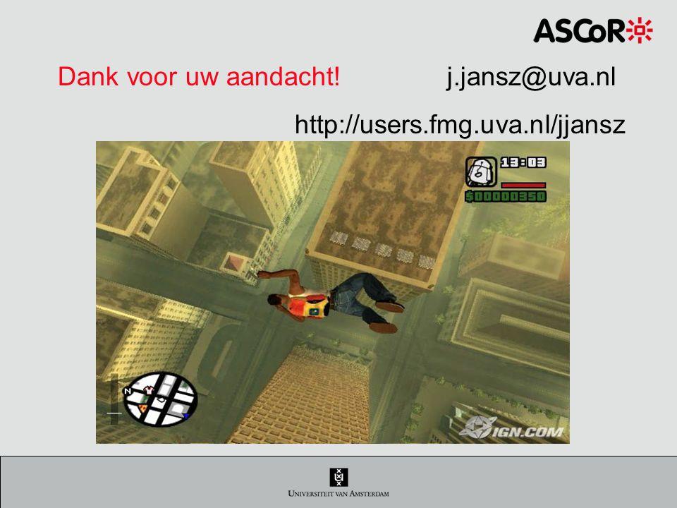 Dank voor uw aandacht! j.jansz@uva.nl http://users.fmg.uva.nl/jjansz