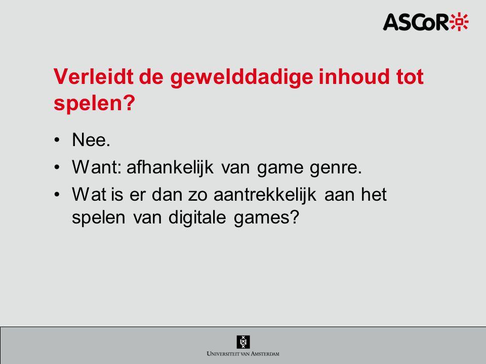 Verleidt de gewelddadige inhoud tot spelen.Nee. Want: afhankelijk van game genre.