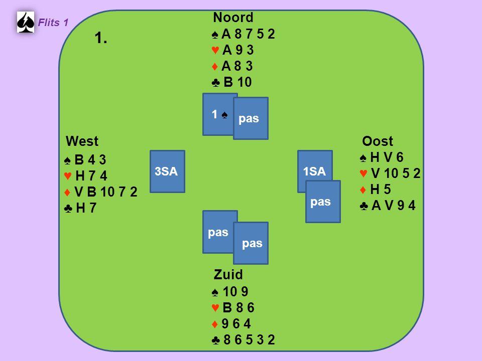 Zuid ♠ A 8 ♥ H B 8 6 4 ♦ 10 8 7 5 ♣ 7 2 West ♠ H V 4 ♥10 5 ♦ 9 6 4 3 ♣ A 9 6 3 Noord ♠ 9 7 5 2 ♥ A 7 ♦ V B 2 ♣ B 10 8 5 Oost ♠ B 10 6 3 ♥ V 9 3 2 ♦ A H ♣ H V 4 10.