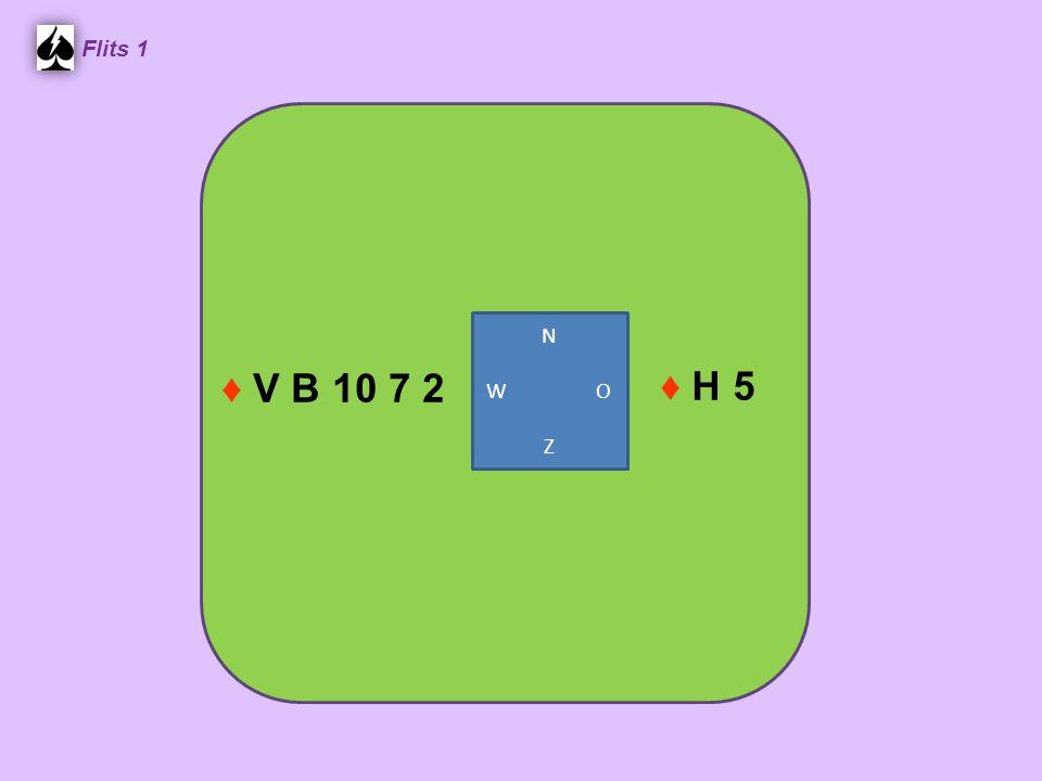 Zuid ♠ H V 10 ♥ A 10 8 6 3 ♦ H V 4 ♣ H V West ♠ B 9 7 6 3 ♥ 7 5 2 ♦ 2 ♣ B 10 8 6 Noord ♠ A 5 ♥ H V 4 ♦ B 10 7 5 3 ♣ 9 7 2 Oost ♠ 8 4 2 ♥ B 9 ♦ A 9 8 6 ♣ A 5 4 3 2.