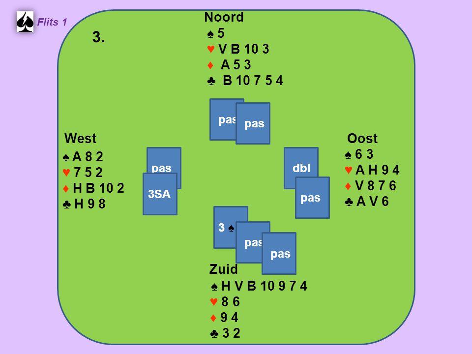 Zuid ♠ H 10 3 ♥ V 10 4 ♦ A 10 8 ♣ 9 7 6 4 West ♠ 8 6 ♥ A H 6 5 3 ♦ 9 6 2 ♣ H V 3 Noord ♠ A V B 9 5 ♥ 9 2 ♦ H V 4 ♣ 10 8 2 Oost ♠ 7 4 2 ♥ B 8 7 ♦ B 7 5 3 ♣ A B 5 4.