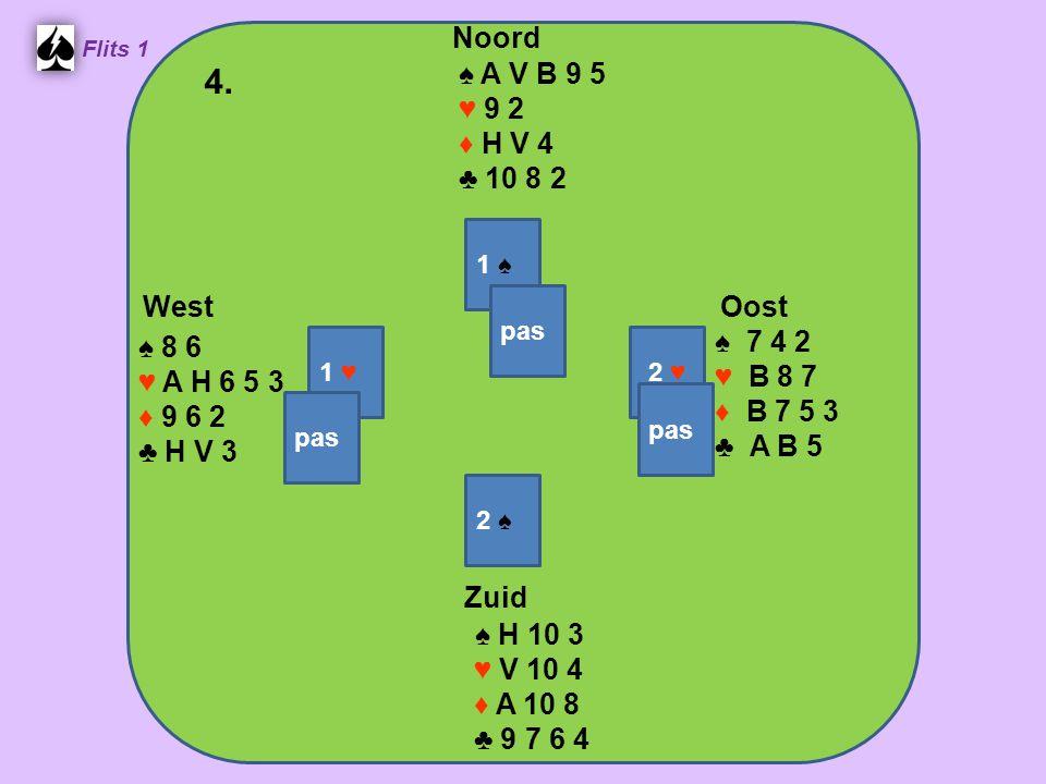 Zuid ♠ V B 9 6 ♥ 9 3 ♦ V 7 6 4 ♣ H B 3 West ♠ A H 4 2 ♥ 8 ♦ A B 3 2 ♣ A 7 4 2 Noord ♠ 10 8 5 ♥ A 7 4 ♦ H 10 9 6 ♣ V 10 8 Oost ♠ 7 3 ♥ HVB10652 ♦ 8 ♣ 9 6 5 14.