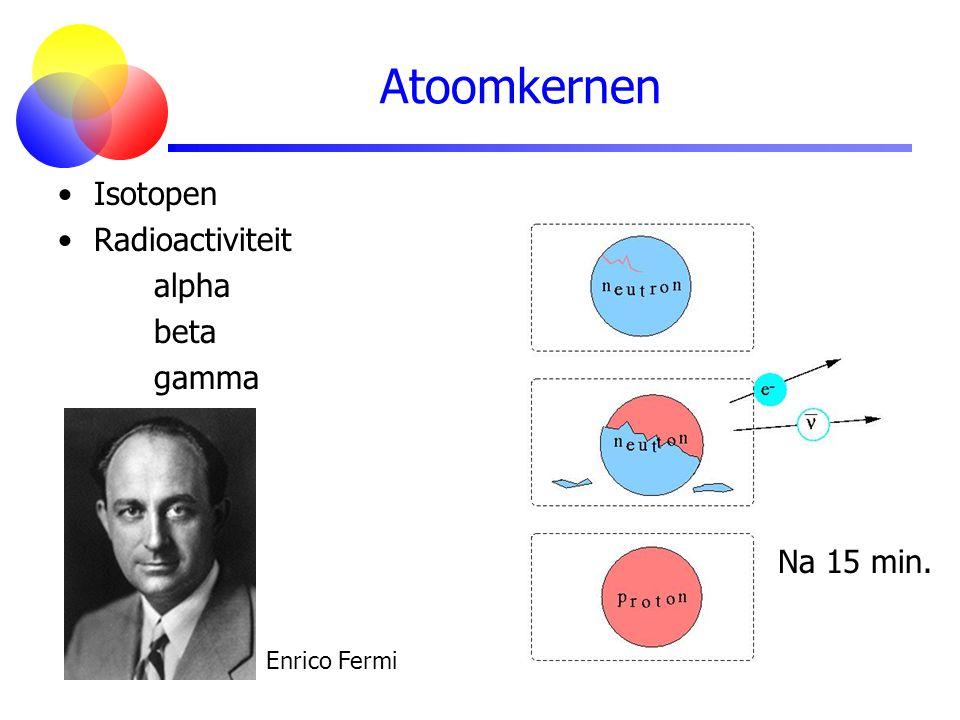 Atoomkernen Isotopen Radioactiviteit alpha beta gamma Na 15 min. Enrico Fermi