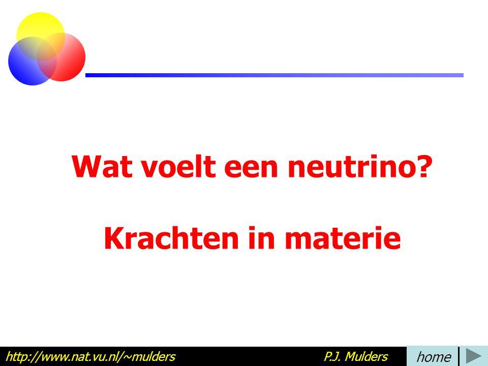 Wat voelt een neutrino? Krachten in materie http://www.nat.vu.nl/~mulders P.J. Mulders home