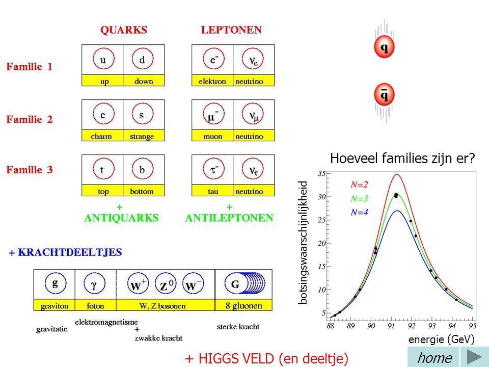 Standaard model 3 deeltjesfamilies 4 fundamentele krachten Bijbehorende krachtdeeltjes Hoeveel families zijn er? botsingswaarschijnlijkheid energie (G