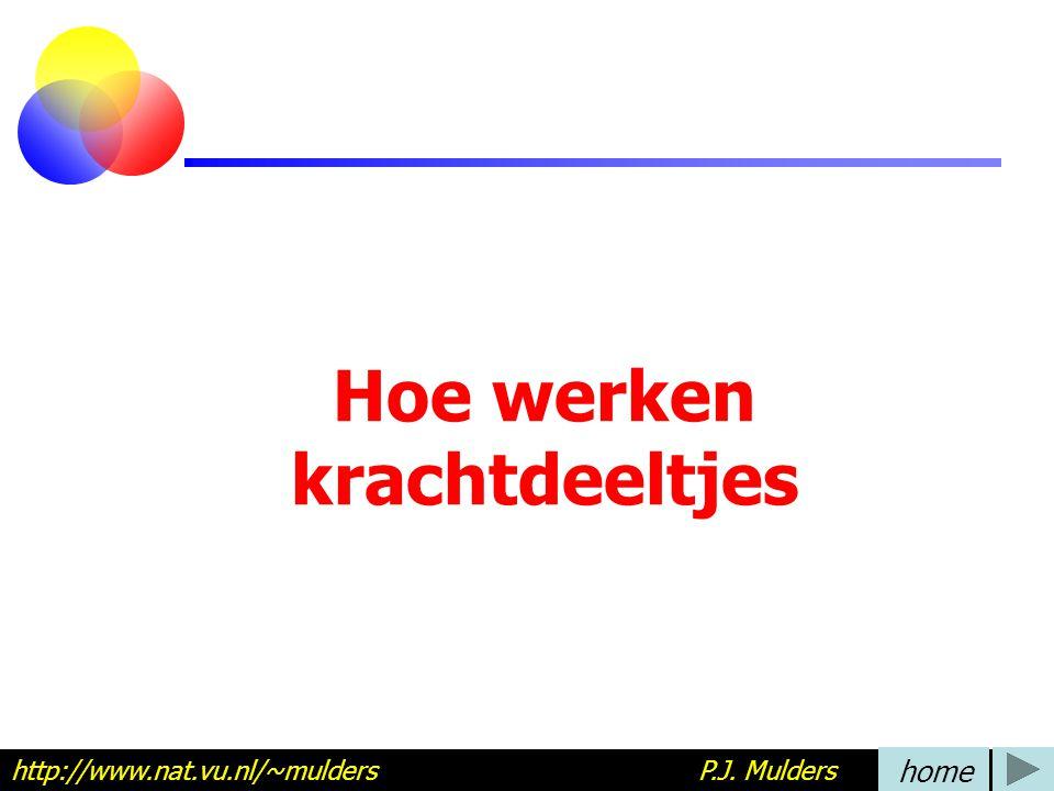 Hoe werken krachtdeeltjes http://www.nat.vu.nl/~mulders P.J. Mulders home