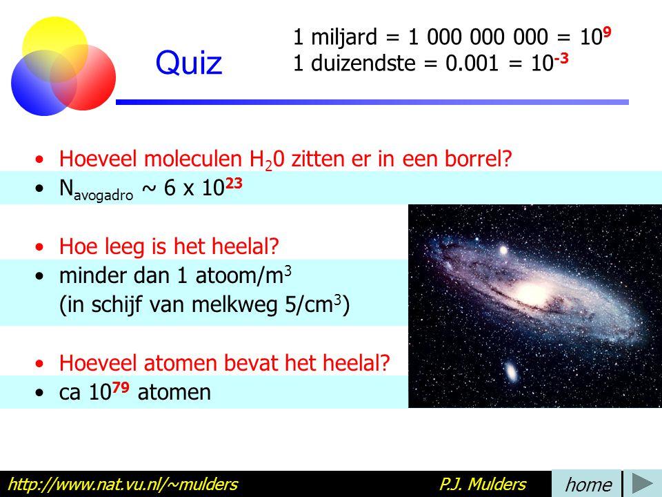 Quiz Hoeveel moleculen H 2 0 zitten er in een borrel? N avogadro ~ 6 x 10 23 Hoe leeg is het heelal? minder dan 1 atoom/m 3 (in schijf van melkweg 5/c