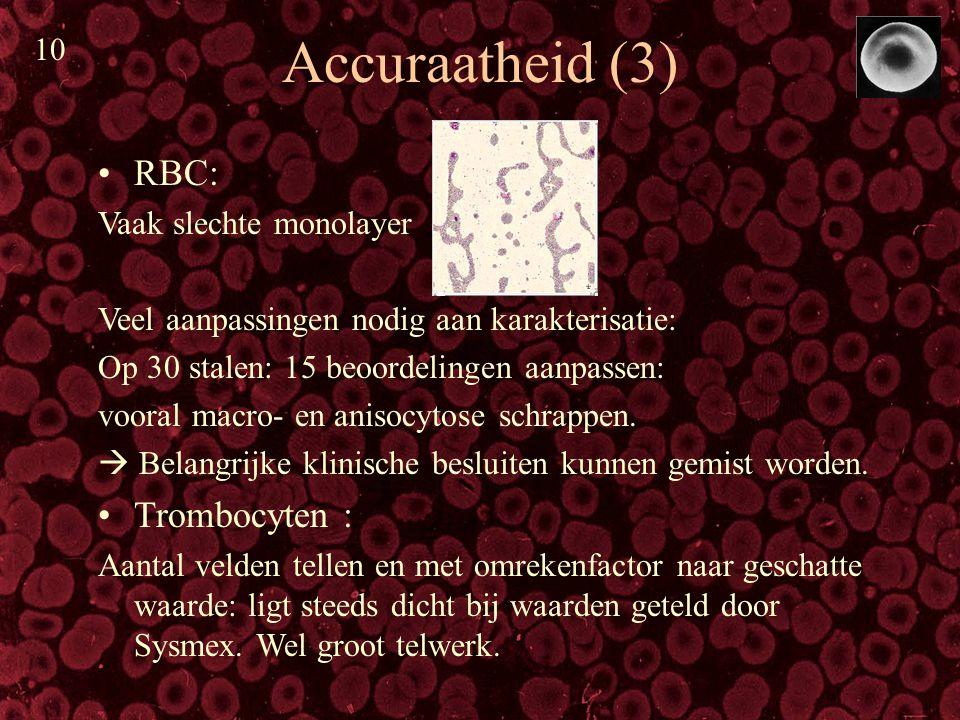 Accuraatheid (3) RBC: Vaak slechte monolayer Veel aanpassingen nodig aan karakterisatie: Op 30 stalen: 15 beoordelingen aanpassen: vooral macro- en an