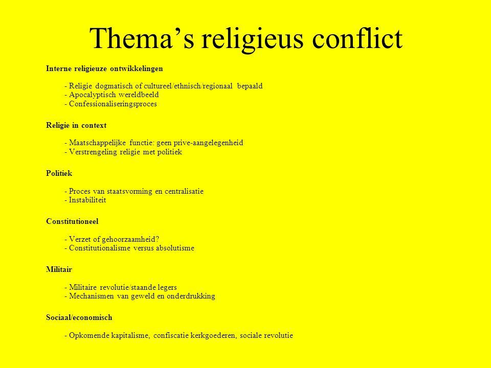 Thema's religieus conflict Interne religieuze ontwikkelingen - Religie dogmatisch of cultureel/ethnisch/regionaal bepaald - Apocalyptisch wereldbeeld - Confessionaliseringsproces Religie in context - Maatschappelijke functie: geen prive-aangelegenheid - Verstrengeling religie met politiek Politiek - Proces van staatsvorming en centralisatie - Instabiliteit Constitutioneel - Verzet of gehoorzaamheid.