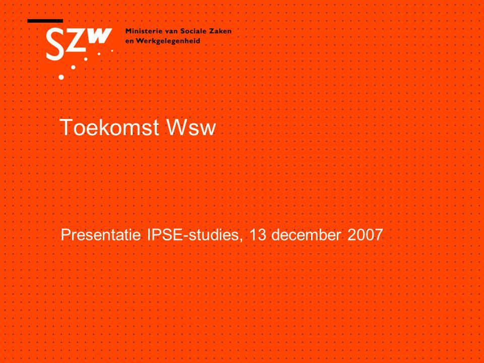 Toekomst Wsw Presentatie IPSE-studies, 13 december 2007
