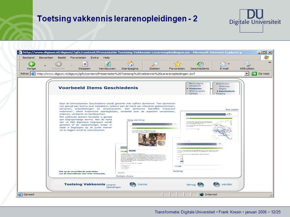 Transformatie Digitale Universiteit Frank Kresin januari 2006 12/25 Toetsing vakkennis lerarenopleidingen - 2