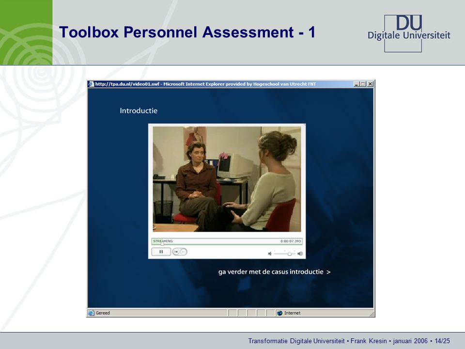 Transformatie Digitale Universiteit Frank Kresin januari 2006 14/25 Toolbox Personnel Assessment - 1