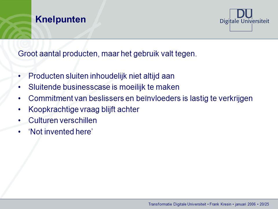 Transformatie Digitale Universiteit Frank Kresin januari 2006 20/25 Knelpunten Groot aantal producten, maar het gebruik valt tegen.