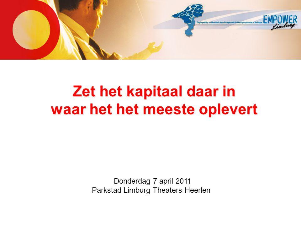 Zet het kapitaal daar in waar het het meeste oplevert Donderdag 7 april 2011 Parkstad Limburg Theaters Heerlen
