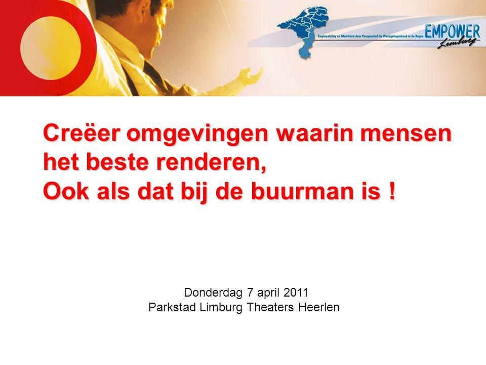 Creëer omgevingen waarin mensen het beste renderen, Ook als dat bij de buurman is ! Donderdag 7 april 2011 Parkstad Limburg Theaters Heerlen